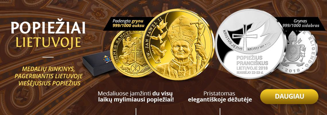 """Medalių rinkinys """"Popiežiai Lietuvoje"""""""