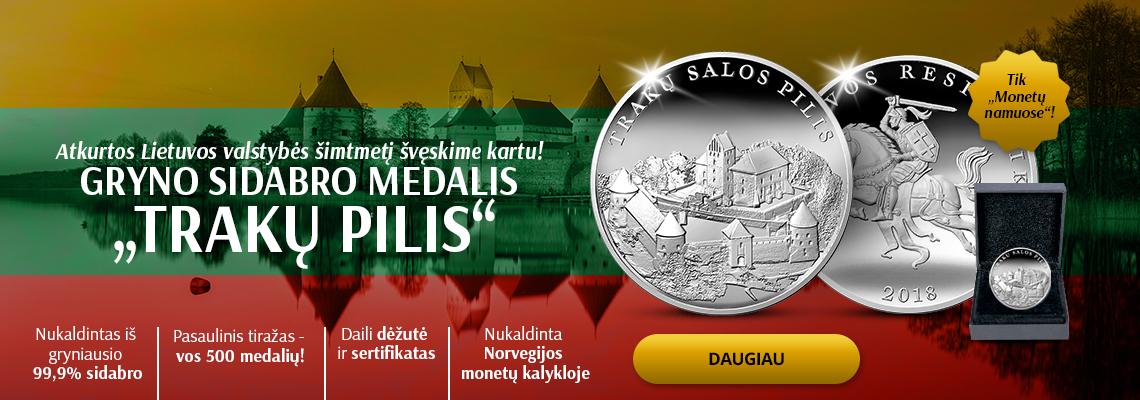"""Gryno sidabro medalis """"Trakų salos pilis"""""""