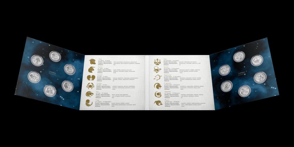 """12 monetų rinkinys """"Zodiako ženklai"""" dėklas"""
