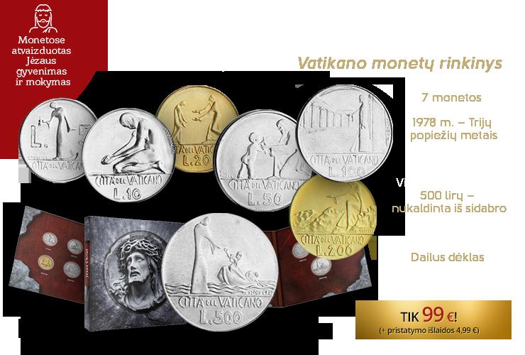 """7 autentiškų Vatikano monetų rinkinys """"Evangelijos istorijos"""""""