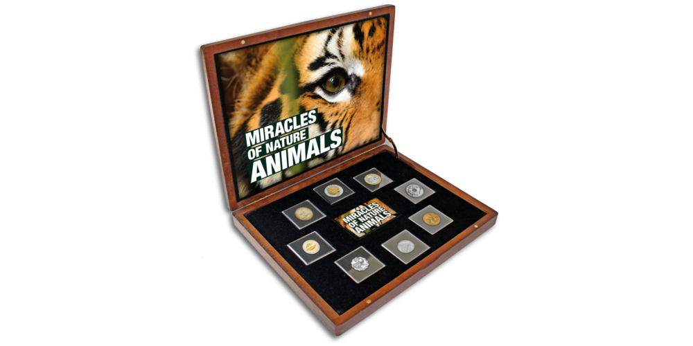 """8 monetų rinkinys """"Gamtos stebuklai"""" dėžutėje"""