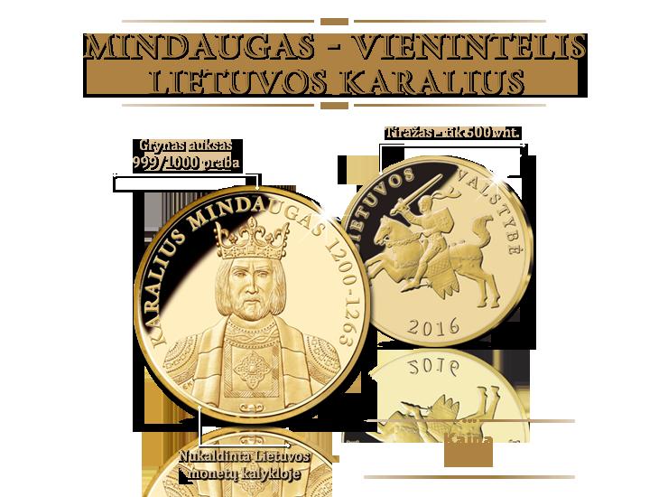 Pirmą kartą medalis iš gryno aukso Lietuvos karaliui Mindaugui