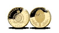 Auksinė moneta, skirta 175-osioms juvelyro Pėterio Karlo Faberžė gimimo metinėms 0,5 g