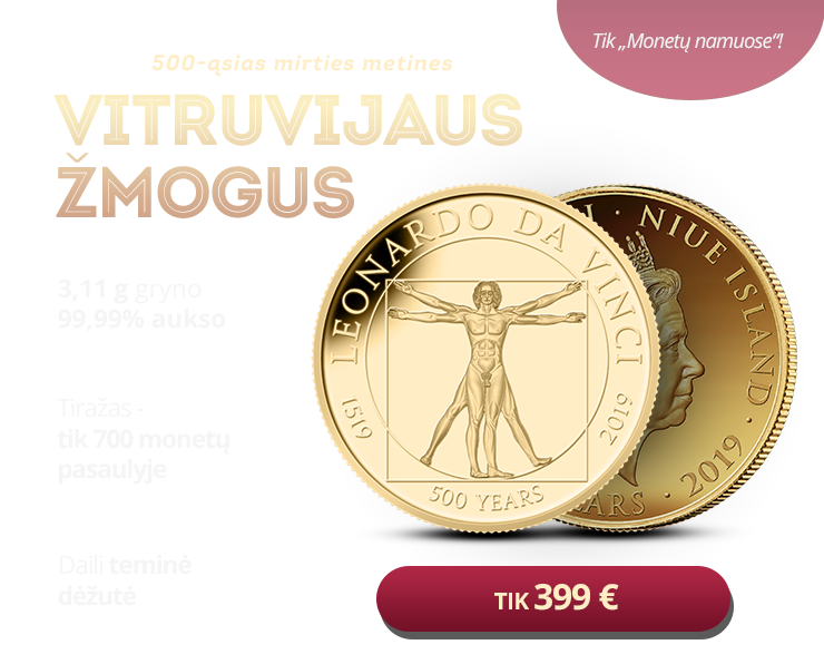 """Gryno aukso moneta """"Vitruvijaus žmogus"""" 1/10 uncijos"""