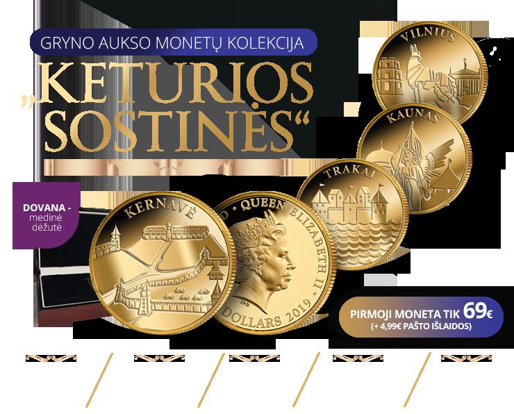 """Gryno aukso monetų kolekcija """"Keturios sostinės"""""""