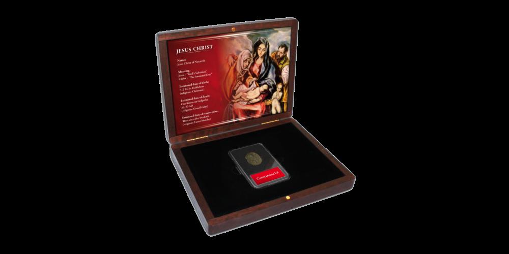 Autentiška moneta su Jėzaus atvaizdu dėžutėje