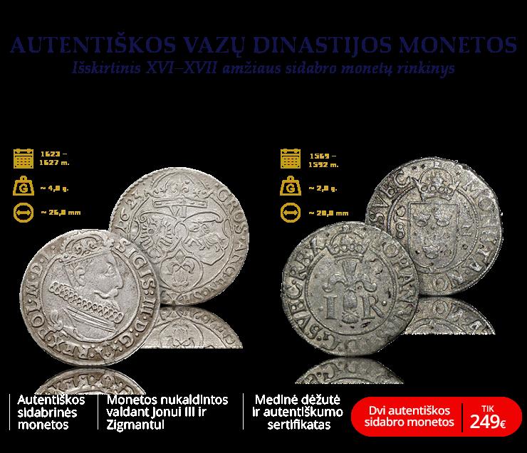 """Autentiškų sidabro monetų rinkinys """"Vazų dinastija"""""""