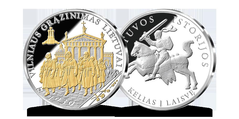 """Sidabru ir auksu dengtas medalis """"Vilniaus grąžinimas Lietuvai"""""""