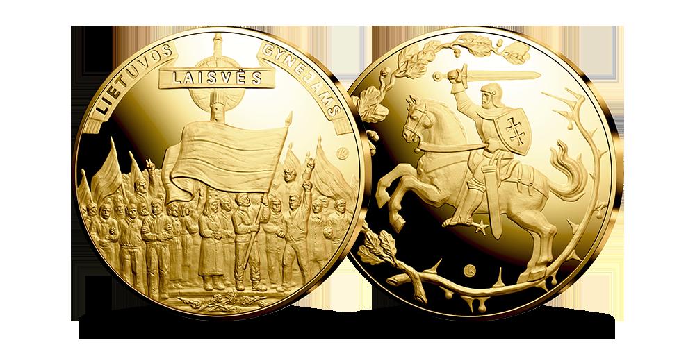 """Paauksuotas medalis """"Lietuvos laisvės gynėjai"""""""