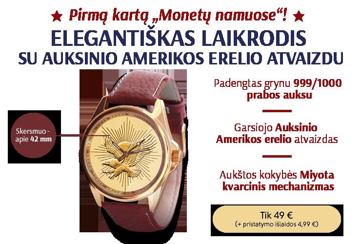 Elegantiškas laikrodis su auksinio Amerikos erelio atvaizdu