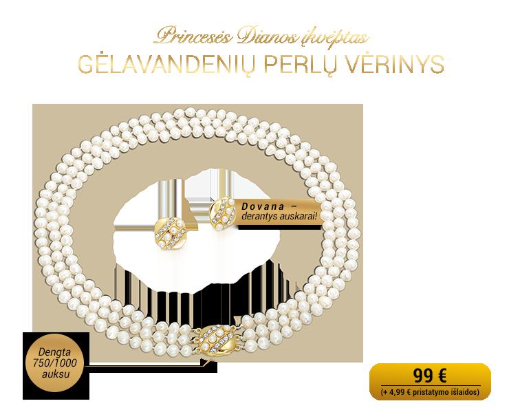 Princesės Dianos įkvėptas perlų vėrinys