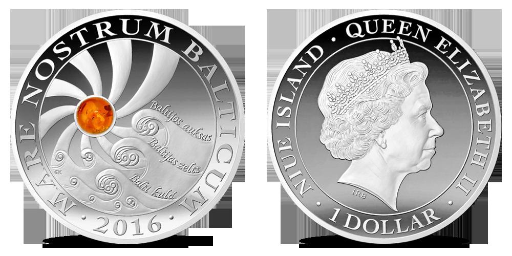 """Gryno sidabro moneta """"Baltijos auksas"""""""