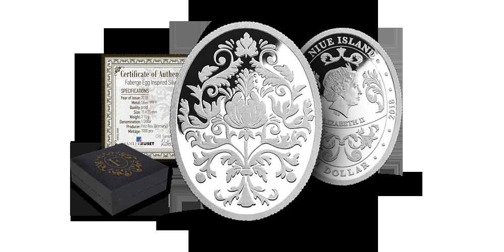 Sidabro moneta, įkvėpta imperatoriškųjų Faberžė kiaušinių