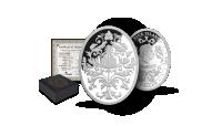 Imperatoriškųjų Faberžė kiaušinių įkvėpta gryno sidabro moneta