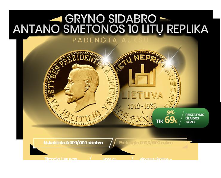 Gryno sidabro Antano Smetonos 10 litų replika