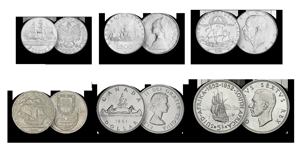 Jūrinės tematikos sidabro monetų rinkinys