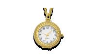 Paauksuotas kaklo papuošalas – laikrodis su padidinamuoju stiklu