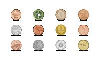 2021-ųjų metų kalendorius su 12 monetų iš skirtingų pasaulio šalių