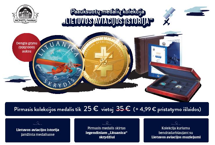 """Paauksuotų medalių kolekcija """"Lietuvos aviacijos istorija"""""""
