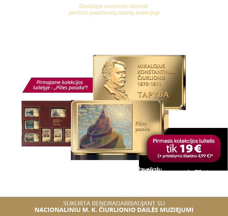 Genialiojo M. K. Čiurlionio kūriniai įamžinti paauksuotų luitelių kolekcijoje!