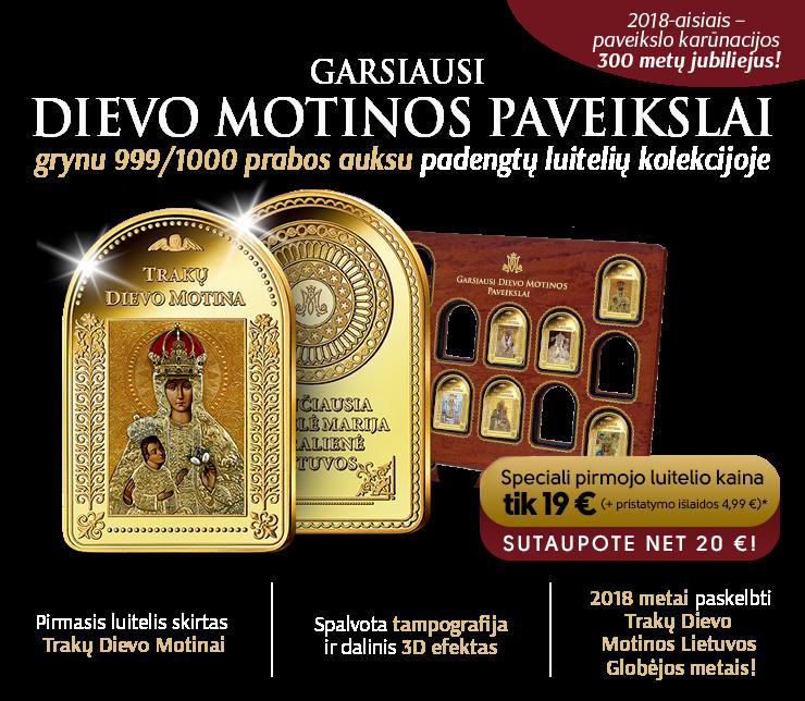Trakų Dievo Motinos Lietuvos Globėjos paveikslas ant paauksuoto luitelio