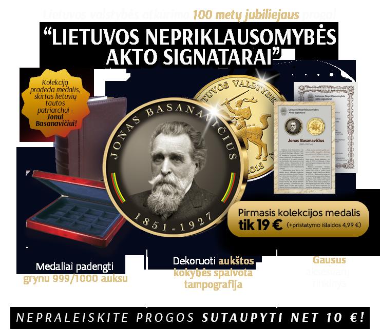 """Paauksuotų medalių kolekcija """"Lietuvos Nepriklausomybės Akto signatarai"""", pirmasis medalis - """"Jonas Basanavičius"""""""