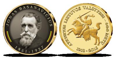 """Kolekcija """"Lietuvos Nepriklausomybės Akto signatarai"""", pirmasis medalis - """"Jonas Basanavičius"""""""