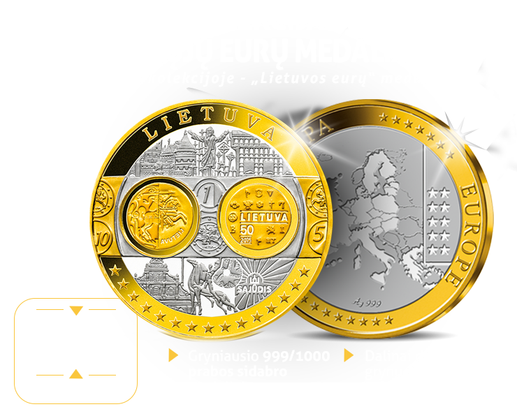 """Kolekcija """"Pirmųjų eurų medaliai"""", pirmasis kolekcijoje - """"Lietuvos eurų"""" medalis"""
