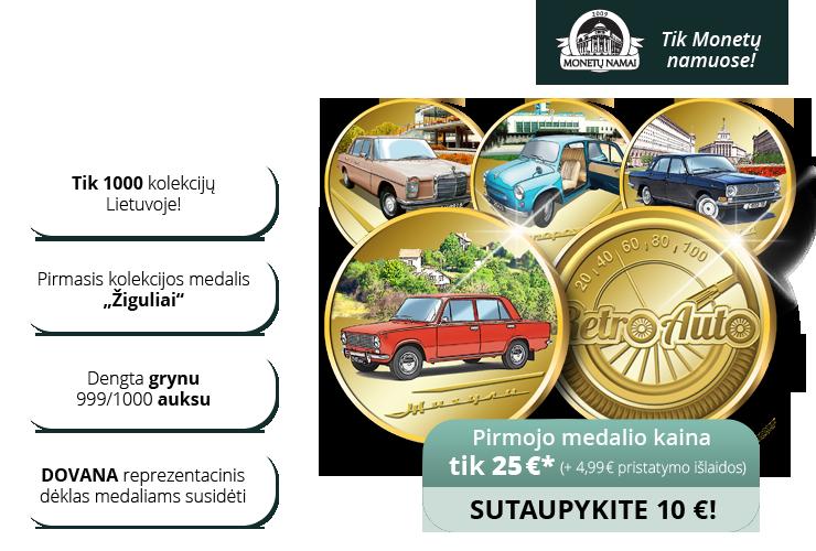 """Paauksuotų medalių kolekcija """"Retro Auto"""""""