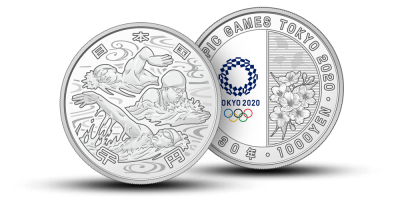 """Sidabro monetų kolekcija """"Tokijo vasaros žaidynės 2020"""", pirmoji moneta """"Vandens sportas"""""""