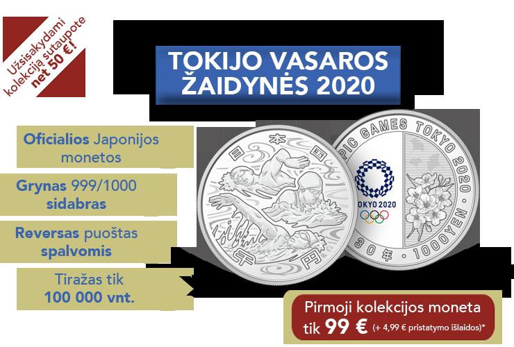 """Sidabro monetų kolekcija """"Tokijo vasaros žaidynės 2020"""""""