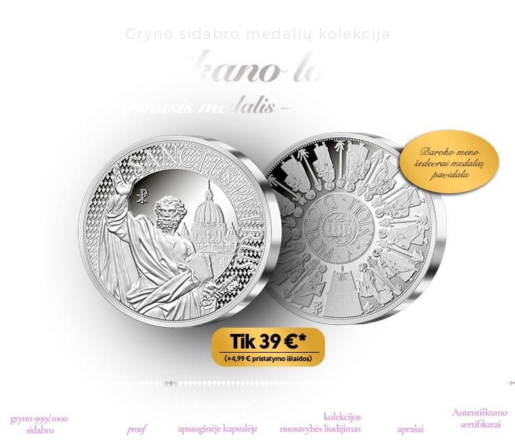 """Sidabro medalių kolekcija """"Vatikano lobiai"""""""