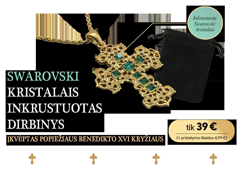 """""""Swarovski"""" kristalais inkrustuotas kryžius"""