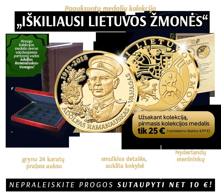 """Paauksuotų medalių kolekcija """"Iškiliausi Lietuvos žmonės"""""""