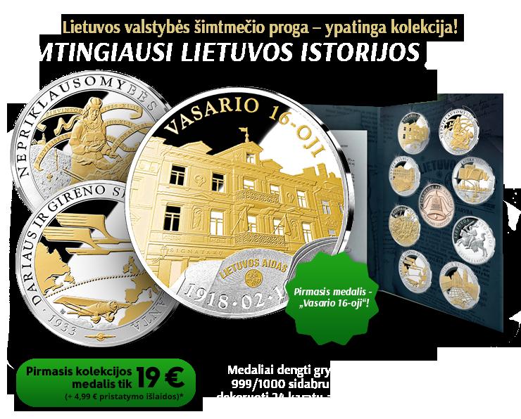 """Kolekcija """"Lietuvos istorijos įvykiai"""", pirmasis medalis - """"Vasario 16 – oji"""""""
