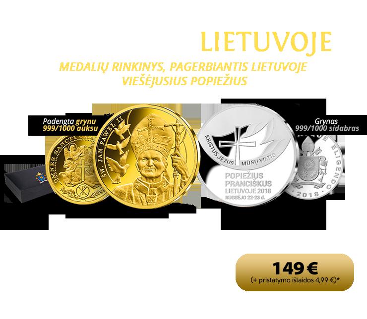 Medalių rinkinys, pagerbiantis Lietuvoje viešėjusius popiežius - Joną Paulių II ir Pranciškų