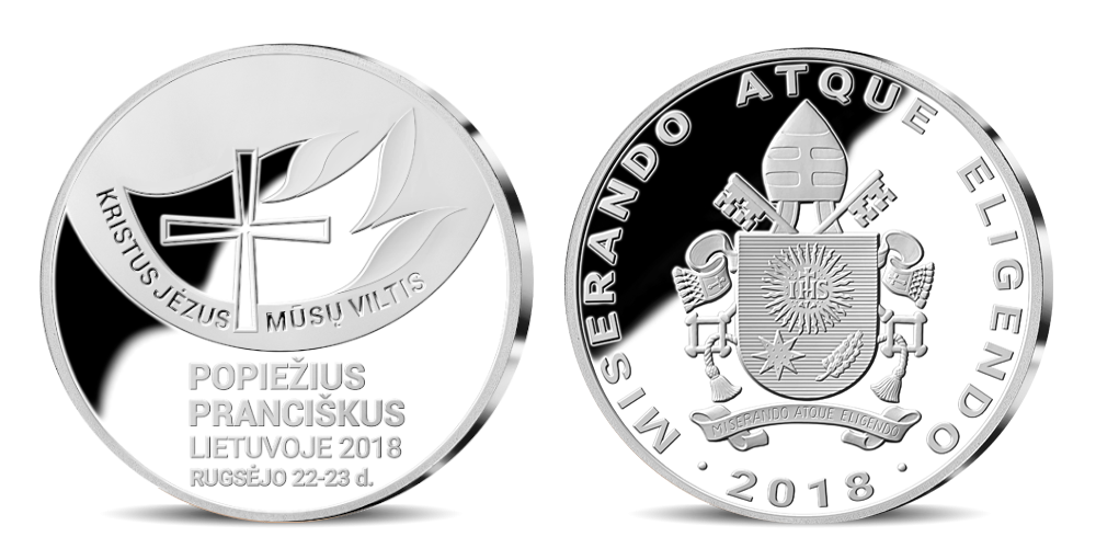"""edalių rinkinys """"Popiežiai Lietuvoje """" sidabrinis"""