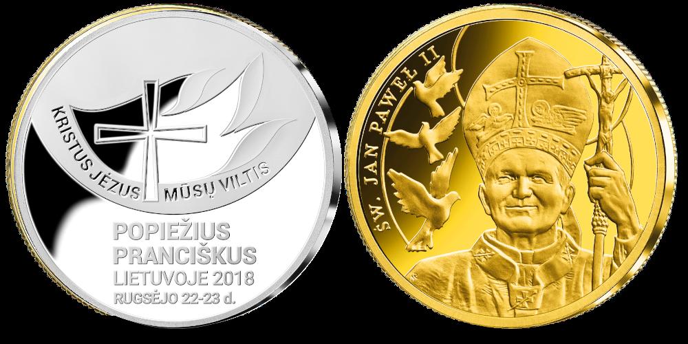 """edalių rinkinys """"Popiežiai Lietuvoje """" auksinis ir sidabrinis"""