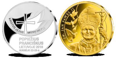 """Medalių rinkinys """"Popiežiai Lietuvoje """""""