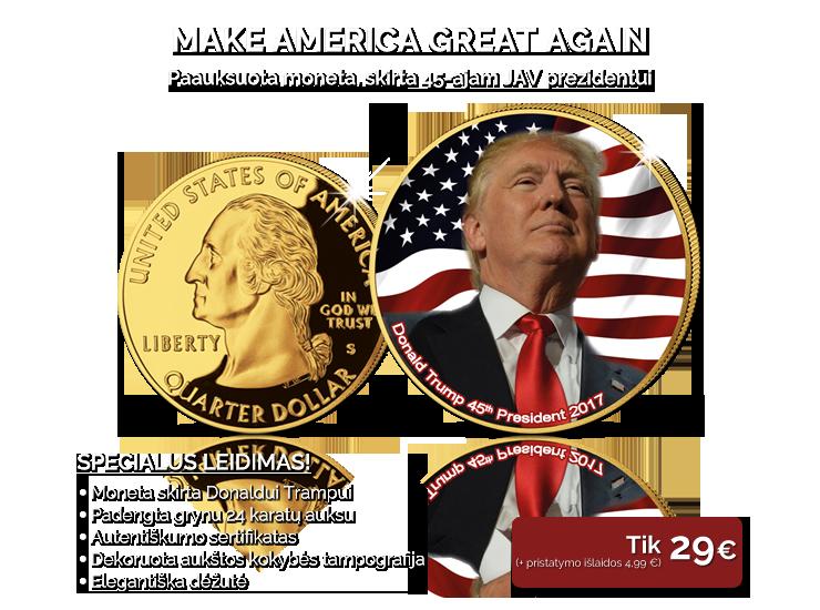 Paauksuota moneta, skirta 45-ajam JAV prezidentui