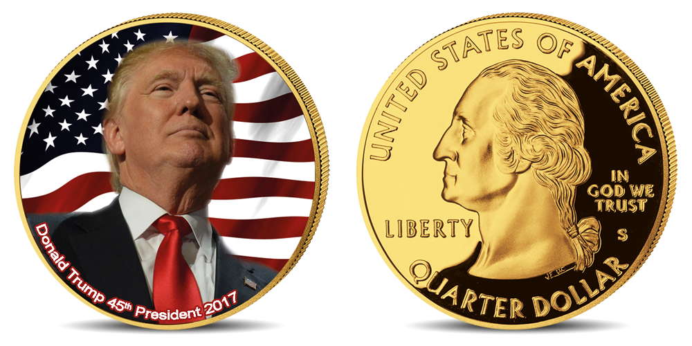"""Auksu padengta ir spalvomis puošta moneta """"Donaldas Trampas"""""""