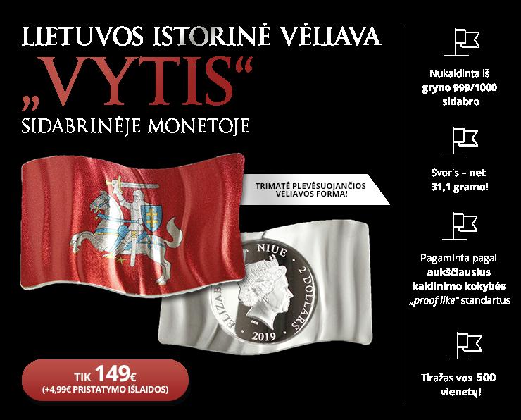 """Sidabro moneta """"Lietuvos istorinė vėliava – Vytis"""""""