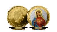 """Auksu dengta moneta """"Nekaltoji Švč. Mergelės Marijos širdis"""""""