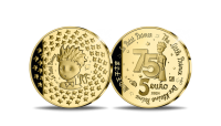 """Auksinė moneta, skirta 75-osioms Antuano de Sent Egziuperi pasakos """"Mažasis princas"""" išleidimo metinėms"""