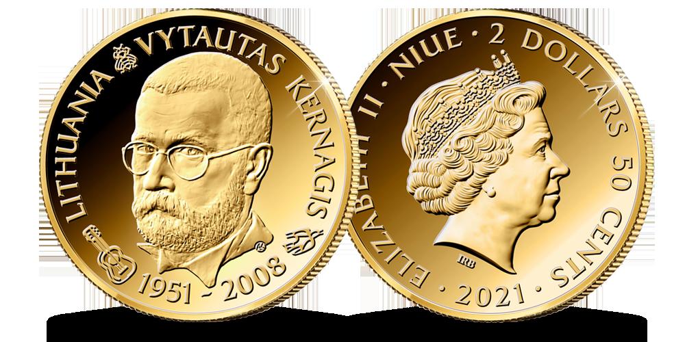 Auksinė moneta, skirta Vytautui Kernagiui