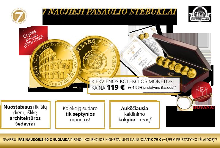 """Gryno aukso monetų kolekcija """"7 naujieji pasaulio stebuklai"""""""