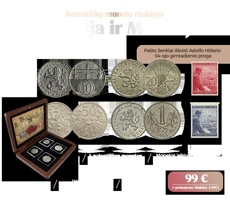 """Autentiškų monetų ir pašto ženklų rinkinys """"Bohemija ir Moravija"""""""
