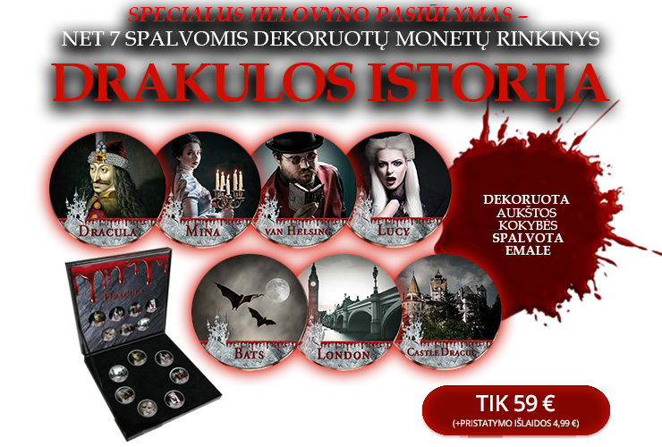 """Spalvomis dengtų monetų rinkinys """"Drakulos istorija"""""""