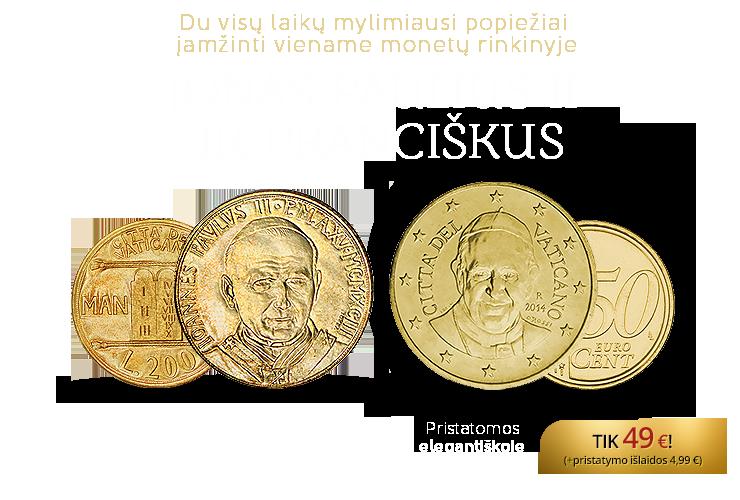 """Monetų rinkinys """"Pontifikai Jonas Paulius II ir Pranciškus"""""""