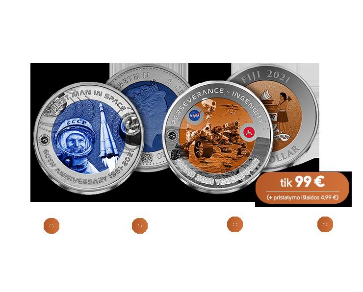 """Titano monetų rinkinys """"Kelionėms į kosmosą – 60 metų"""""""